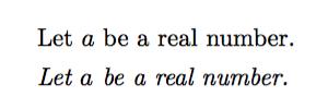数式用イタリックフォントと文章用イタリックフォントの比較